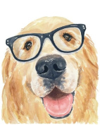 Animal Picture Print,Dog With Glasses Wall Art And Home Decoration,Canvas Art Print On Canvas,Unstretched And Unframed Size:25cm x 36cm
