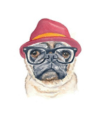 Animal Picture Print,Dog With Hat Wall Art And Home Decoration,Canvas Art Print On Canvas,Unstretched And Unframed Size:25cm x 36cm