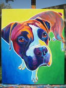 Animal Picture Print,Colourful Dog Wall Art And Home Decoration,Canvas Art Print On Canvas,Unstretched And Unframed Size:25cm x 30cm