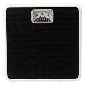 Mechanical Analogue Bathroom Scale, Easy to Read Rotating Dial with Red Pointer Line, Compact Design, High Quality, All Steel Construction, 140kg Capacity, Black.