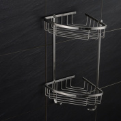 Sumin Home DO30401 Contemporary Wall Mounted Stainless Steel Bathroom Double Tiered Corner Basket, Brushed