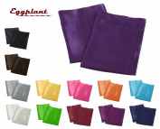 Creative 2 Pieces of Colourful Shiny Satin Queen Size Pillow Case - Eggplant