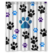 Dog Paw Prints Waterproof Fabric Polyester Bathroom Shower Curtain with 12 Hooks 150cm (w) x 180cm