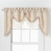 HLC.ME Portofino Beige Jacquard Curtain Valances - 130cm Inch by 70cm Inch