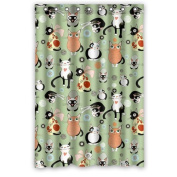 Lovely Cartoon Cats Funny Expressions Waterproof Ployester Shower Curtain Size 120cm x 180cm