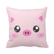 Cute Pig Face - kawaii minimalism Pillows Personalised 46cm x 46cm Square Cotton Throw Pillow Case Decor Cushion Covers