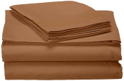 Jessica Sanders Premier 1800 Series 3pc Bed Sheet Set- Twin (Single), Mocha Light Brown Carmel, (190cm x 100cm Fits XL) - Jessica Sanders Embroidery