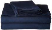 Jessica Sanders Premier 1800 Series 4pc Bed Sheet Set - Full (Double), Navy Blue, - Jessica Sanders Embroidery
