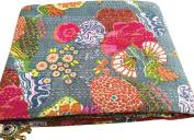 Fruit Reversible Bedspread Pattern Blue Gudri Pure Cotton Kantha Style Queen Size Quilt Bed Spread Floral & Fruit Print Decorative Kantha Stitch Quilt Pure Cotton Reversible Bedspread
