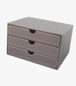 KINGFOM™ 33cm x 60cm Large 3-Layer 3-Drawer Triple Wood Structure and Leather Desk Table File Storage Box Organiser Container