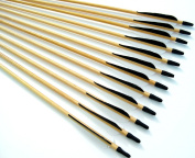 12 Shiny Black® Handsome, Premium Wood Arrows with Turkey Feathers & Stainless Steel Field Points -- for Recurve, Compound, or Long Bow. Medium Spine Weight. 70cm .