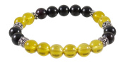Citrine Bracelet with Garnet and Detailed Sterling Beads - 19cm - Sterling Silver Stretch