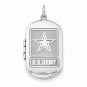 Sterling Silver Army Dogtag Locket - 2.5cm X 3.2cm Sterling Silver