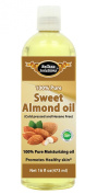 #1 Sweet Almond Oil 470ml by Belleza Solutions - 100% Pure Cold pressed and Hexane free - Natural Moisturiser from Head to Toe & Best Carrier Oil - Works wonders for your hair, scalp, face, body and feet. Perfect for massaging