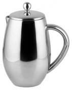 Bruntmor, DUBLIN 8 Cup (1010ml) Double Wall 18/8 Stainless Steel French Coffee Press with No Drip Spout & Double Filter Screens