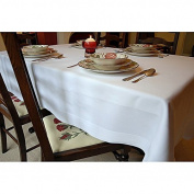 Scala Hotel Collection - Luxurious White Satin Band Table Cloth 180cm X 180cm Made in Egypt