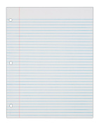 TOPS Notebook Filler Paper, College Ruled, 28cm x 22cm , 3-Hole Punched, Medium Weight, White, 150 Sheets/Pack