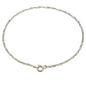 Sterling Silver Singapore Nickel Free Chain Anklet Italy