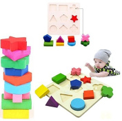 Hot selling Kids Baby Wooden Learning Geometry Educational Toy Block Puzzle Montessori Early Free Ship