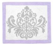 Lavender, Grey and White Damask Print Elizabeth Girl Accent Floor Rug for Kids, Children and Teens