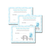 Mod Blue Elephant Baby Shower Guess How Many Activity Game 20-pack