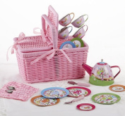 10cm Tin 18 Piece Tea Set with Basket, Bird
