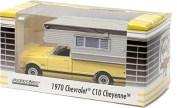 1970 Chevy C10 Cheyenne Custom/10 8/350 Longhorn with Large Camper Hobby Exclusive Yellow 1/64 by Greenlight 29783