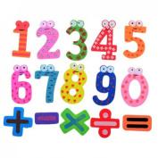 Idetrust 1set Wooden Fridge Magnet Gift Set 0-10 Number + - X / = Big Size Magnet Education Learn Cute Kid Baby Toy