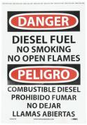 "NMC ESD467PB Bilingual OSHA Sign, Legend ""DANGER - DIESEL FUEL NO SMOKING NO OPEN FLAMES"", 25cm Length x 36cm Height, Pressure Sensitive Vinyl, Black/Red on White"