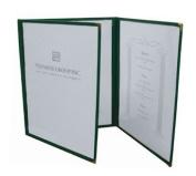 Menu Cover, 20cm - 1.3cm X 28cm , Fold-Out, Triple Pocket, 6-View, Plastic Laminate Folder, Black Trimming