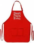 Father's Day Gift Best Papa Ever Funny Apron for Kitchen BBQ Barbecue Cooking Baking Crafting Gardening Two Pocket Apron for Grandpa or Dad Apron Red
