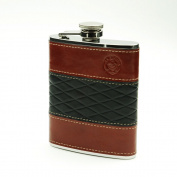 Savage 180ml 18/8 Stainless Steel Hip Flask Wrapped with Black and Burgundy Genuine Leather - Rmf-61