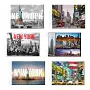 6 set New York NYC Souvenir Large Photo Picture Fridge Magnets 6.4cm x 8.9cm - Pack of 6
