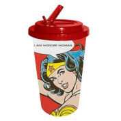 Wonder Woman Plastic Flip Straw Cold Cup