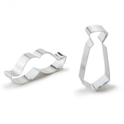 Bakerpan Tin Plated Steel Cookie Cutter Tie & Moustache Set