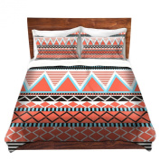 Duvet Cover Brushed Twill Twin, Queen, King from DiaNoche Designs by Organic Saturation Home Decor and Bedding Ideas - Coral Tribal