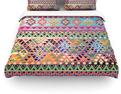 "Kess InHouse Nika Martinez ""Tribal Native"" Red Pattern Twin Cotton Duvet Cover, 170cm by 220cm"