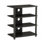 MI-868 Mount-it! Contemporary Multi-Level Media Component Stand with Four Black Wood Shelves with a Silk Melamine Finish