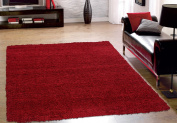Cosy Shag Collection Red Solid Shag Rug (1.5m X 2.1m) Contemporary Living and Bedroom Soft Shaggy Area Rug