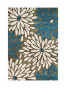 ZnZ Rugs Gallery 45004_5X8 Hand Made New Zealand Blend Wool Rug, 1.5m by 2.4m, Algiers Blue/Whisper White/Gothic Olive