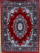 0889 Red Grey Black White 2.1m3m3m6 Isfahan Area Rug Oriental Carpet Large New