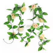 RHX Artificial Champagne Silk Rose Flower Garland Vine Wedding Party Garden Decor