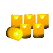 Set of 6 Round Melted Edge Votive Flameless LED Candles with Dual Timer - Ivory
