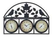 Plutus Brands Metal Clock Thermometer Detailed with Smooth Contours