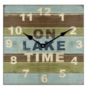 Young's Square Wood Lake House Clock, 33cm