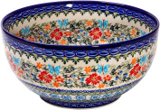 Polish Pottery Ceramika Boleslawiec Royal Blue Patterns with Red Cornflower and Blue Butterflies Motif, Bowl 23, 10-Cups,