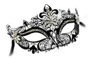 Jacqueline Laser-Cut Metal Black Venetian Masquerade Mask for Women w/ Crystals