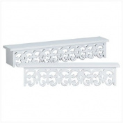 2Pc Distressed White Wood Carved Wall Shelves Shelf Set