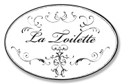 The Stupell Home Decor Collection La Toilette White with Black Scrolls Oval Wall Plaque