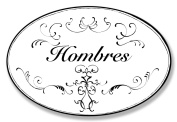 The Stupell Home Decor Collection Hombres White with Black Scrolls Oval Wall Plaque